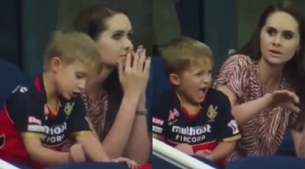 RCB VS MI match highlights in tamil: AB de Villiers' son express his angry
