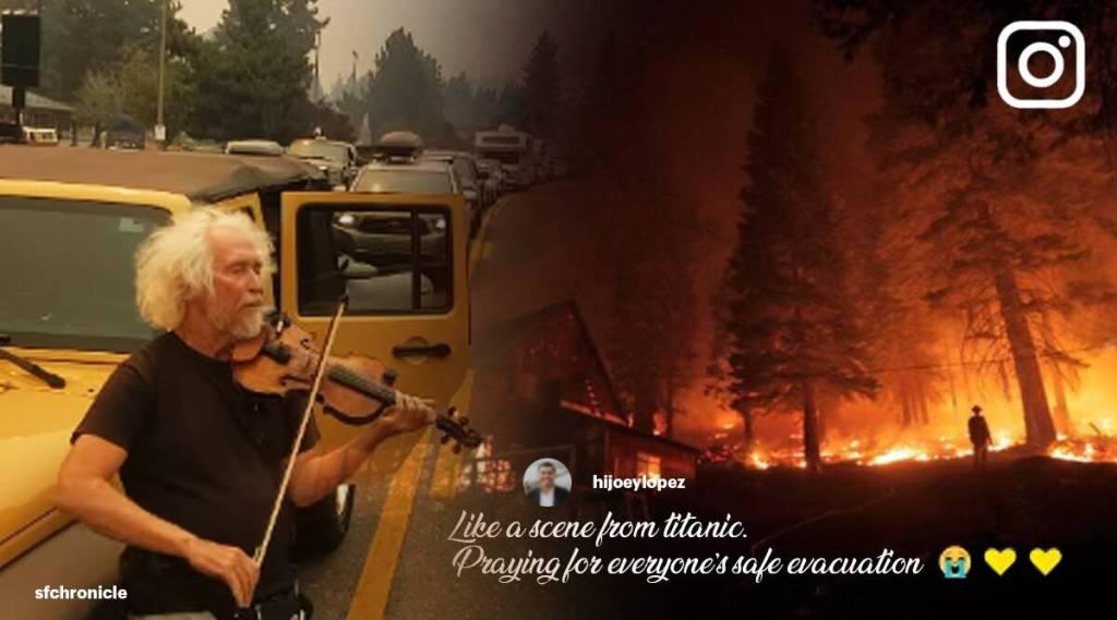 Man plays violin for California wildfire evacuees, viral video, trending viral video, viral videos