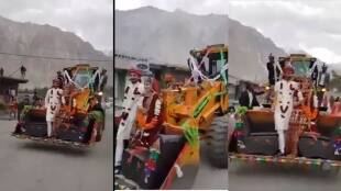 Viral video, Viral video of married couple ride in JCB, trending videos,